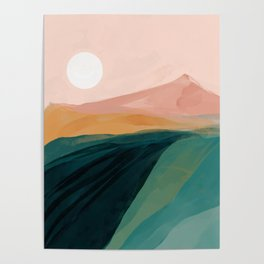 pink, green, gold moon watercolor mountains Poster