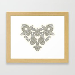 'Love 03' - Dutch heart of lace in grey and soft yellow Framed Art Print