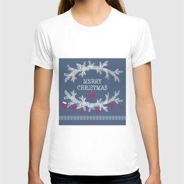Merry christmas and happy new year greeting card wreath background T-shirt