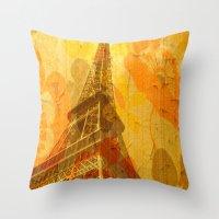 eiffel Throw Pillows featuring Eiffel by 3crows