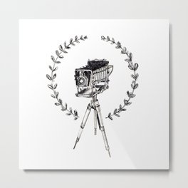 Vintage Camera with Wreath Metal Print