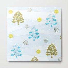 Scandinavian Christmas Trees Gold & Ice Blue 2.0 Metal Print