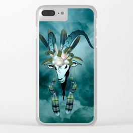 The billy goat  skull Clear iPhone Case