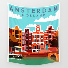 Vintage Amsterdam Holland Travel Wall Tapestry
