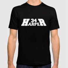HR Harper White Text Black MEDIUM Mens Fitted Tee