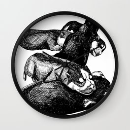 Siberian Husky Puppies Wall Clock