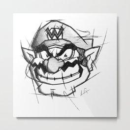 Wario Handmade Drawing, Games Art, Super Mario, Nintendo Art Metal Print