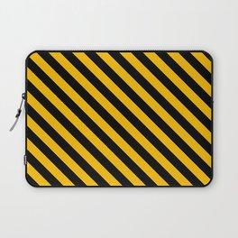 Amber Orange and Black Diagonal LTR Stripes Laptop Sleeve