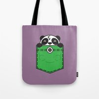pocket Tote Bags featuring Pocket Panda by Steven Toang