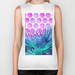Tropical turquoise palm tree neon pink polka dots Biker Tank