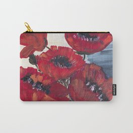 red poppy, floral, painting, poppy, decor, flowers Carry-All Pouch