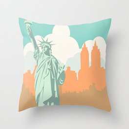 New York City Vintage Poster Throw Pillow