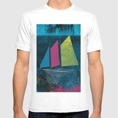 little boat in the ocean MEDIUM White Mens Fitted Tee
