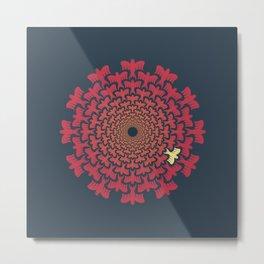 Vortex Original | Tessellating Red Bird Geometric Pattern Inspired By M.C. Escher Metal Print
