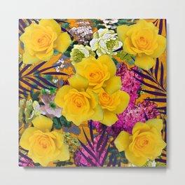 VINTAGE YELLOW ROSE FLOWERS PURPLE  PALMS ART Metal Print