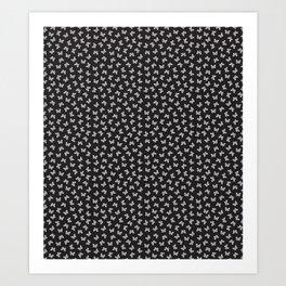 Butterfly Toss in White on Black Art Print