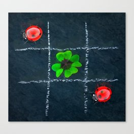 Clover and ladybugs tic-tac-toe pattern Canvas Print