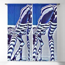 9244-KMA_5206 Sexy Blue Striped Nude Bending Down Looking Back Blackout Curtain