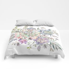 succulent watercolor 8 Comforters