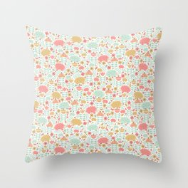 Spring Hedgehog Forest Throw Pillow