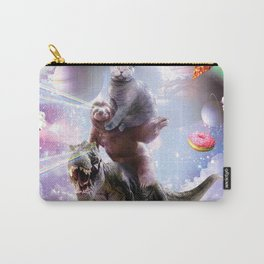 Laser Eyes Space Cat On Sloth Dinosaur - Rainbow Carry-All Pouch