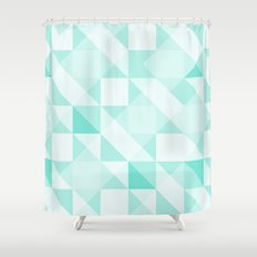 All Turquoise Triangle Pattern Shower Curtain