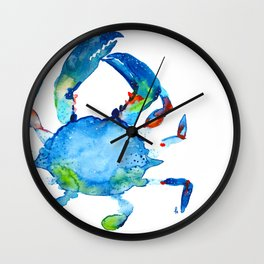 Blue Claw Crab - Nautical - Summer - Ocean - Sea Life Wall Clock
