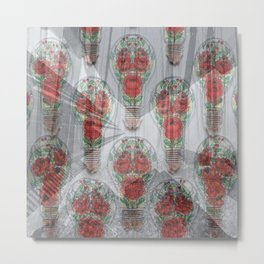 Abstract Art 20 27 Graphic fine art nature lamps of red sweet flowers overlay mixed colorful pattern Metal Print