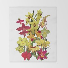 Orchids - Hot Colors! On white Throw Blanket