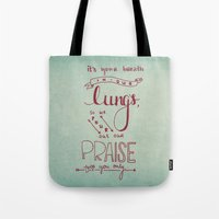 lungs Tote Bags featuring LUNGS by Lex Bleile