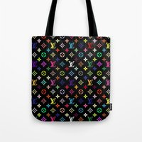 lannister Tote Bags featuring COLORFULL LV PATTERN LOGO by BeautyArtGalery