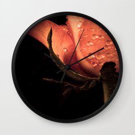 Red rose with raindrops Wall Clock