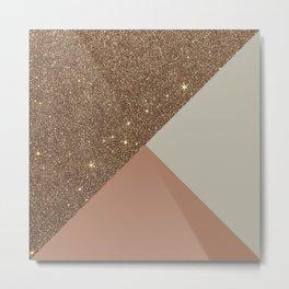 Elegant & Glamorous Faux Gold Glitter & Taupe Metal Print