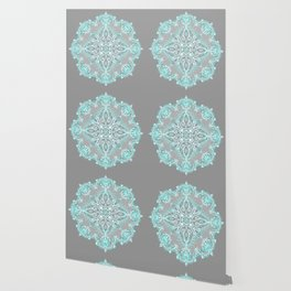 Teal and Aqua Lace Mandala on Grey Wallpaper