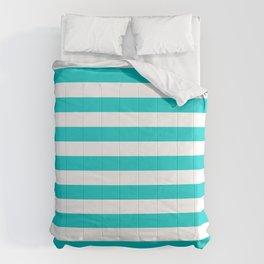 Narrow Horizontal Stripes - White and Cyan Comforters