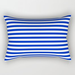 Cobalt Blue and White Thin Horizontal Deck Chair Stripe Rectangular Pillow