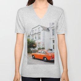 Car and orange Unisex V-Neck