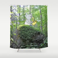 saxophone Shower Curtains featuring Saxophone Koala In The Woods by koalahigh
