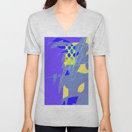 Yellow Square Hatchling  Blue-purple  Abstract Unisex V-Neck