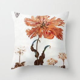 A Parrot Tulip Auriculas & Red Currants with a Magpie Moth Caterpillar Pupa by Maria Sibylla Merian Throw Pillow