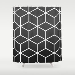 Charcoal and White - Geometric Textured Cube Design Shower Curtain