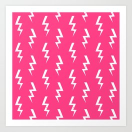 Bolts lightening bolt pattern pink and white minimal cute patterned gifts Art Print