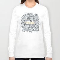 french Long Sleeve T-shirts featuring Pardon My French – Black & Gold by Cat Coquillette