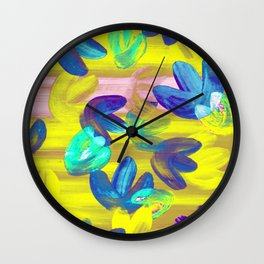Vibrant Acrylic Painting Layered Tulips Floral Pattern Neon Lime Yellow, Mint Green, Purple, Summer Party Vibe Wall Clock