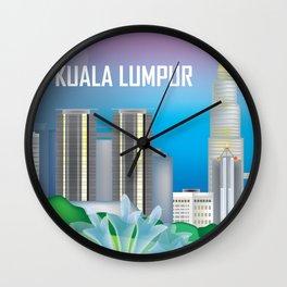 Kuala Lumpur, Malaysia - Skyline Illustration by Loose Petals Wall Clock