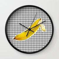banana Wall Clocks featuring Banana by Ozghoul