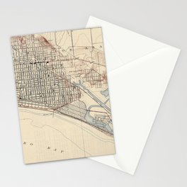 Vintage Map of Long Beach California (1923) Stationery Cards