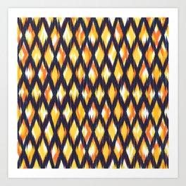 dark diamond ikat texture on yellow ground Art Print
