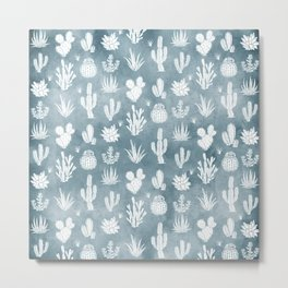 Cactus Pattern Dusty Blue Background Metal Print