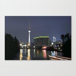 Night at river Spree in BERLIN Canvas Print